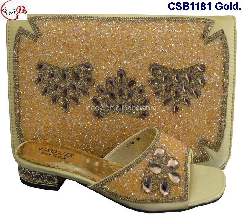 CSB1181 Gold New designs of low heels shoes/sandle/slippers women shoes matching bag for wedding/party