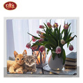 Cute Cat with Beautiful Flower Design LED Lighted Wooden Canvas Painting for Home  Decoration