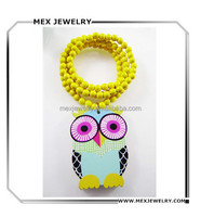 2016 Good Quality Hip-Hop colorful yellow owl Pendant Wood Rosary Bead Necklace