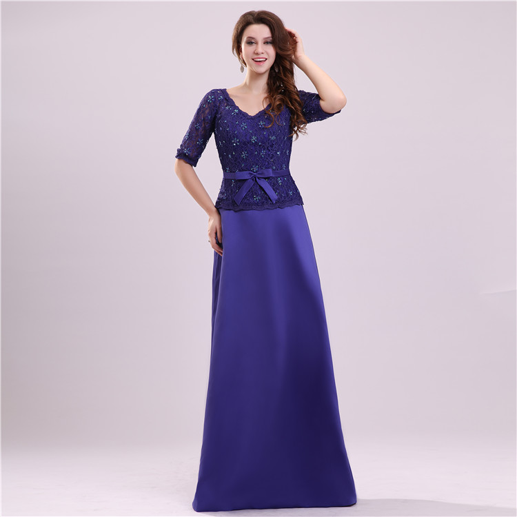 Vintage Purple Mother Dresses Floor Length Lace Top Beading Mother Of The Bride Dress With Sleeve