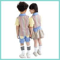 2016 latest western style 100%cotton primary kindergarten school kids uniforms