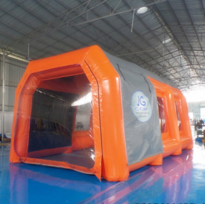 Small 7m orange custom inflatable car spray booth paint booth baking booth with logo in China