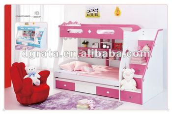 2012 hot sale lovely kid bunk bed is made from E1 MDF board and painting for teenager