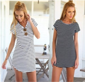 Fashion Vestidos 2016 Summer Style Women Casual Black White Stripe Dress Short Sleeve O Neck Mini Beach Dress OEM