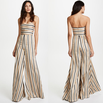 Elegant women long off shoulder stripe jumpsuit