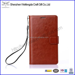 Factory magnetic flip leather phone case with strap for iphone 6 6S
