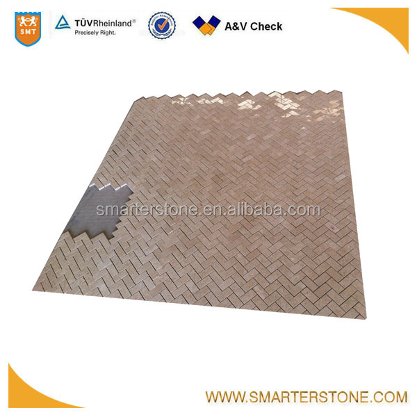 Herring bone shape natural travertine mosaic for interior wall