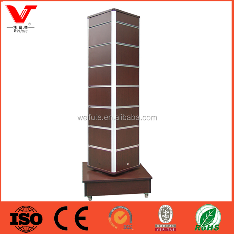 Rotating Retail Store Floor Wooden 4 Side Slatwall Jewellery Display Stand with wheels
