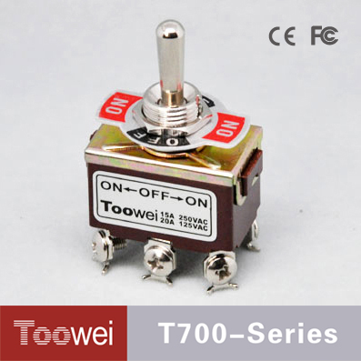 T700 Series DPDT 12mm Diameter ON--OFF-ON 6 Pole Miniature Chrome Toggle Switch 15A 250VAC
