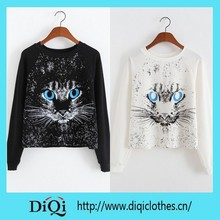 2015 newest design animal printed women shirt stylish ladies top woolen lady top