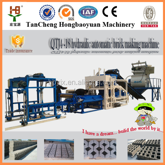 QTJ4-18 new products 2016 automatic concrete stone hydraform cement hollow block machine bulacan