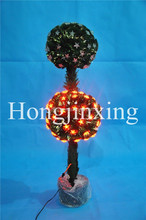 Double Balls Samll Fiber Optic Christmas Tree, Stars Ornamants Prelit Xmas Tree, Lighting Tree