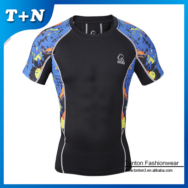 Wholesale Stylish Men's Compressed T shirts Handsome Men Favorite T shirts