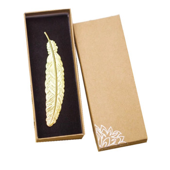 Hot sale 3D feather shape metal bookmark for classmates souvenir