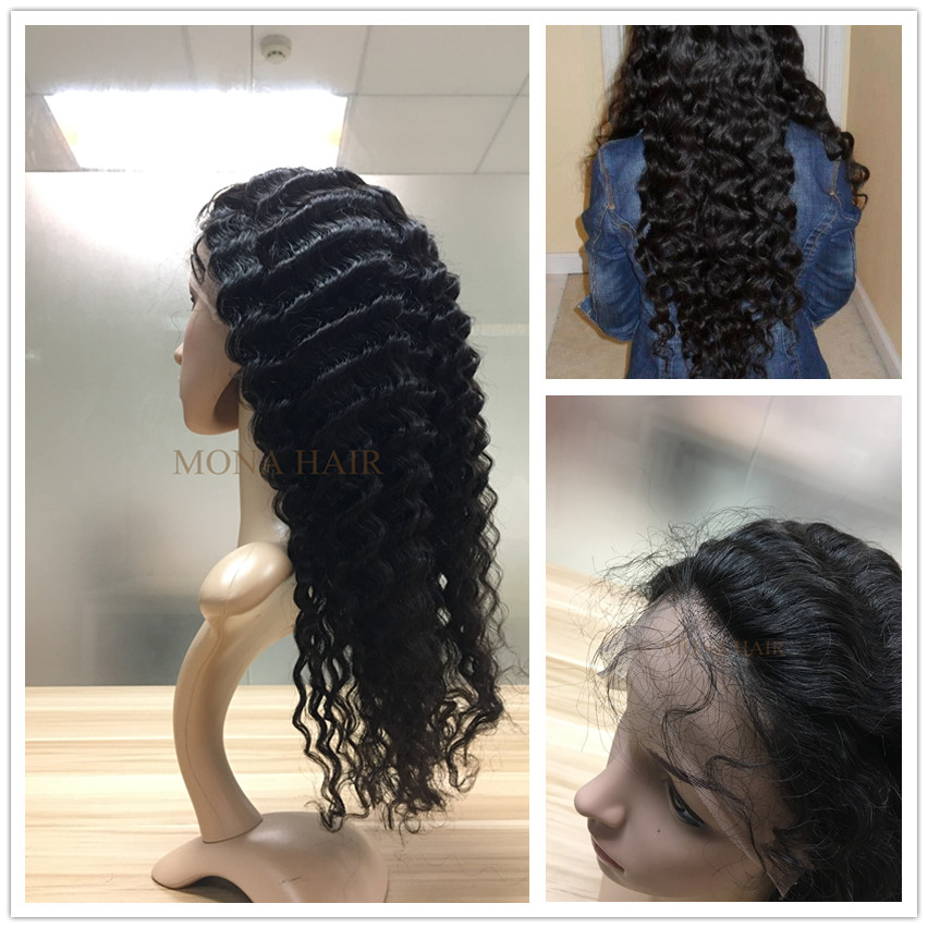 No chemical process minimum shedding OEM curly full lace human hair wig