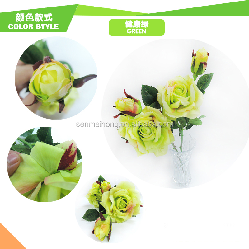 Custom Wholesale single stem with 2 Flower buds artificial cyan rose flowers