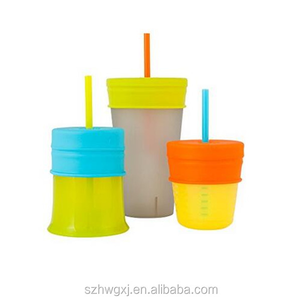 Food grade silicone straw cup lid for kids