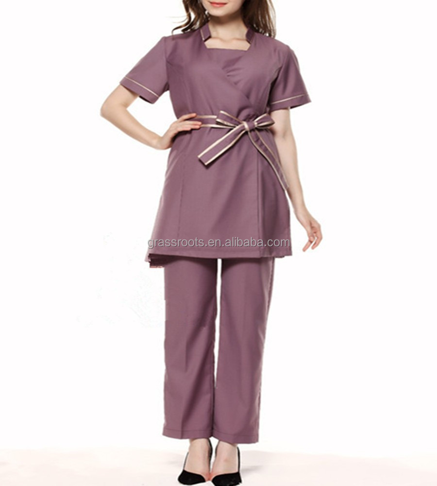 2015 100 cotton fashion design salon women spa beautician for Spa uniform indonesia