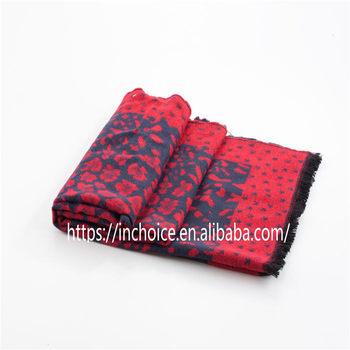 Professional made unique design acrylic knitting patterns winter scarf Red Star