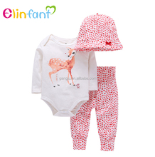 Elinfant 100% cotton wholesale baby newborn clothes romper clothing set