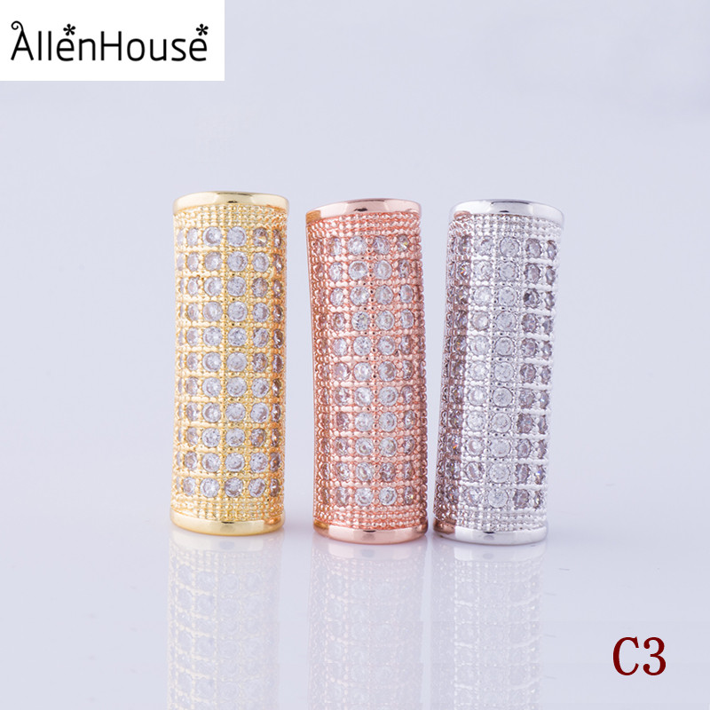 European Style column cylinder copper alloy Micro Pave Rhinestone Crystal Spacer charm Beads For Men Bracelet