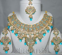Meena Patti Bollywood Kundan Indian Jewelry Exquisite Necklace Set E37 Turquoise