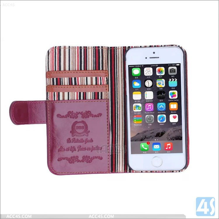 Luxury crazy horse pattern new leather wallet case for iphone 5 5s with vertical stripe
