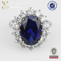 CZ Ring Hot sale fashion 925 sterling silver ring blue diamond ring jewelry