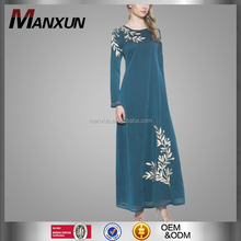 Manxun New Fashion Muslim Long Dress Embroidery Formal Abaya Arabic Maxi Dress