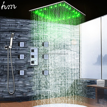 Modern Thermostat Shower Faucets Ceiling Led Rain Shower 20'' Stainless Steel Shower Panel Brass Massage Body Jets with Mixer