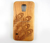 Two pieces cherry wood for samsung s5 laser engraving cell phone case