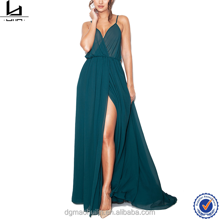 dress custom dark green slip sex split evening sheer chiffon maxi dresses