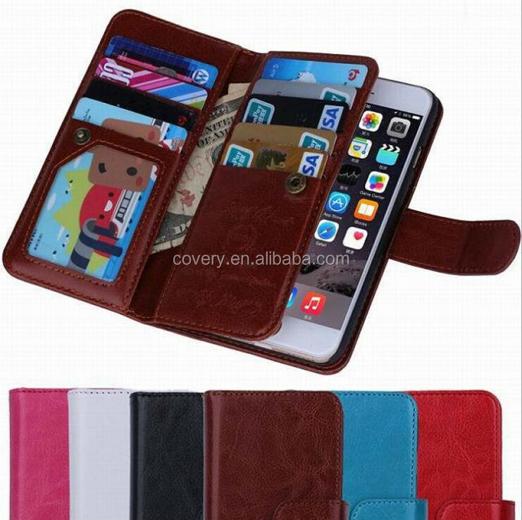 Multi functional detachable waller leather case with stand for iphone6s