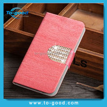 China Manufacture Luxury Diamond Wood Line Pattern PU Leather Cell Phone Wallet Cover For Huawei Ascend G6 /P6 MiniCase (Pink)