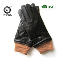 Fashion new style men's genuine soft leather gloves with rib cuff