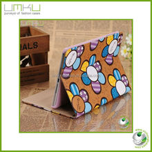 New arrive Helianthus annuus design leather case for ipad mini with card holder