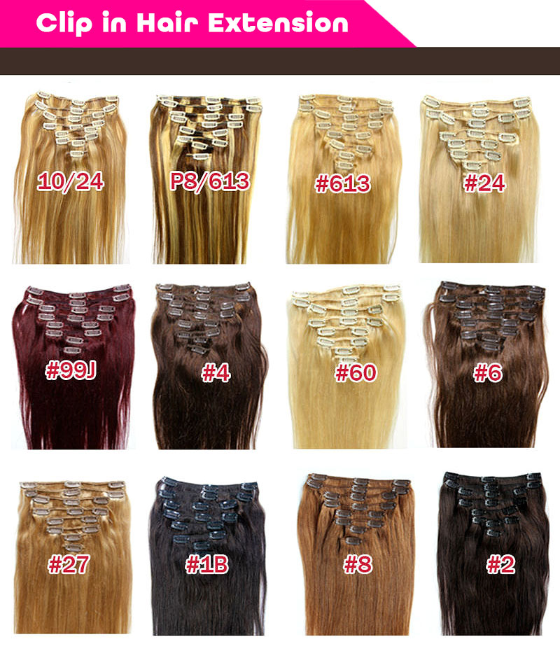 One piece full head 24 inch double drawn remy clip in human hair extensions for children