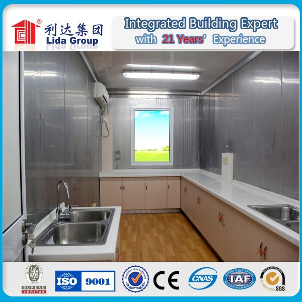Prefabricated flat pack container house kitchen