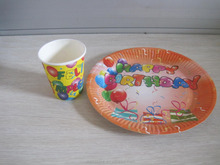 A set of paper plate and paper cup of Happy Birthday