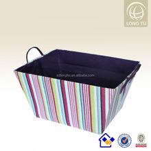 Environmental cheap plastic baskets with handles,woven shallow storage basket,pp woven baskets