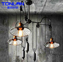 Edison Restaurant Bar American country style creative industry posted trigeminal lift telescopic lens design chandelier