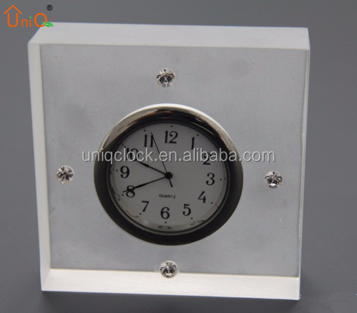 Simple matte clear acrylic square time clock, small clock, desk time