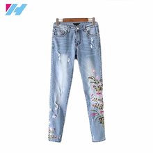 2017 hot latest design denim jeans women fashion Flowers embroidered jeans fashion casual ripper pants