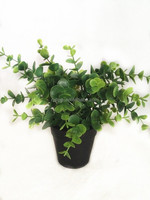 2016 small green artificial plant bonsai with black platic pot