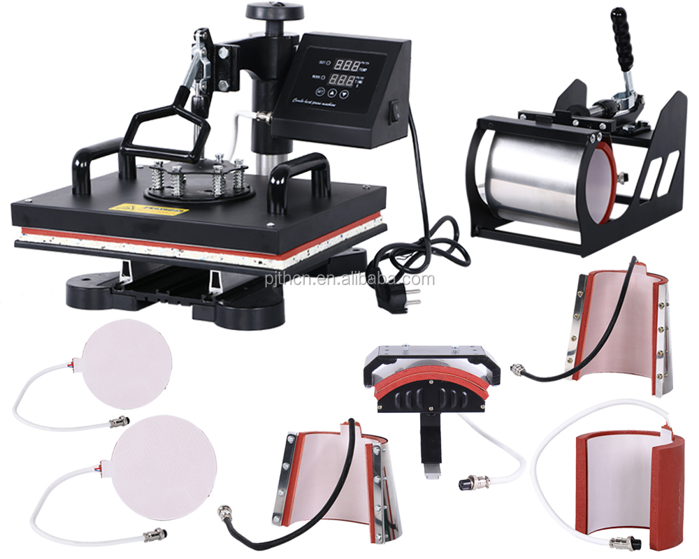 CE certificate New Arrival Black Swing arm combo heat press , t shirt cap mug heat printing machine