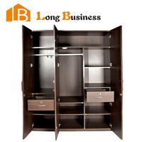 LB-DD3102 Cheap Wood Veneer Sliding Door Bedroom Wardrobes