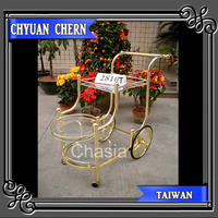 MADE IN TAIWAN K/D FURNITURE METAL WITH GLASS HOTEL SERVING CART