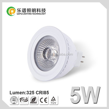 2700k CRI85 5w cob mr16 led bulb with reflector lens and CE&RoHS certificates