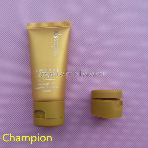 golden color cosmetic packaging tube with flip top cap