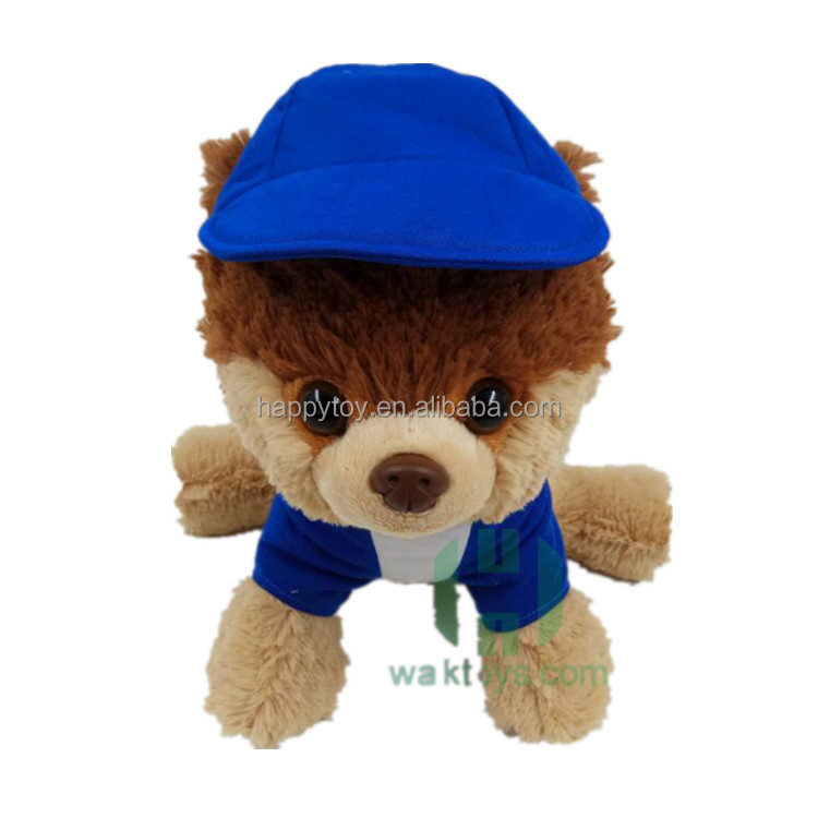 big eyes plush dog toy farm animal cartoon dog plush stuffed toys puppy custom plush dog in hat with clothing for gifts cute